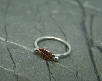 Silver ring with copper leaf, silver ring, leaf ring, silver and copper ring, cornish ring, copper ring