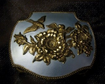 Repousse Bird & Floral Motif Gold and Metallic Blue Jewelry or Trinket Box with Elephant Feet