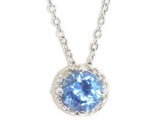1 Ct Blue Topaz & Diamond Round Pendant .925 Sterling Silver Rhodium Finish