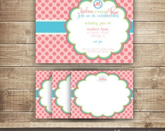 Pink Polka Dots Birthday Invitation & Personalized Thank You Note Card / Pink and Turquoise / Girl's Birthday - Printable