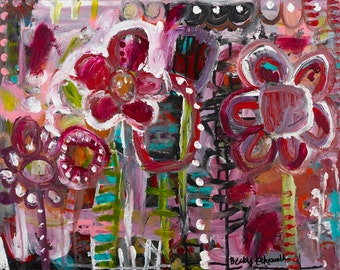 """original painting //  16"""" x 20"""" canvas // flowers in a row"""