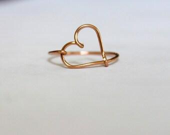 14K Rose Gold Heart Ring