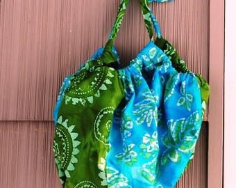 Handmade Large Tote Bag Hobo Style Turquoise Green Batik Cotton Denim Lining
