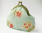 Floral Purse Light Green, Wedding Bridesmaid Gift, Made to order