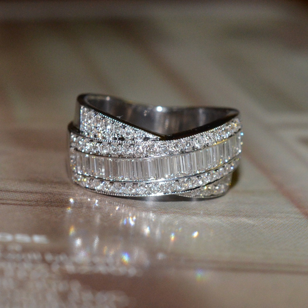 reserved round and baguette cut diamond wedding band 18k