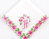 Vintage White Hankie w/ Embroidered Monogram H, Pink Pansies & White Button Hole Edge // floral, spring, hanky, flowers, feminine (H-270)