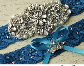 Bridal Garter Wedding Garter Set Something Blue Stretch Lace Keepsake and Toss Garters, Rhinestone and Crystal garters