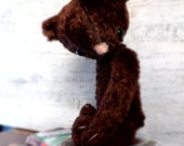 OOAK teddy bear artist bear plush, 10' chocolate brown - HandyHappyTeddy