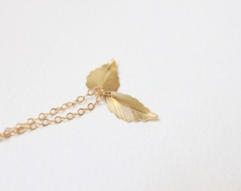 Gold Leaf necklace, tiny leaf necklace, dainty leaf necklace, gold leaf charm, bridesmaid necklace, gold leaf jewelry, gift for her