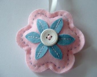 Pink and Blue Felt Flower Hanger