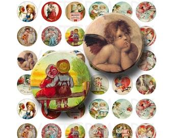 99 Cent Sale - Vintage Valentine - Digital Collage Sheet  - 1 inch Round Circles - INSTANT DOWNLOAD