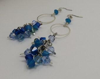 Ocean Water Cluster Dangle Earrings - READY TO SHIP - Blue Crystal Dangle Earrings - Cluster Earrings