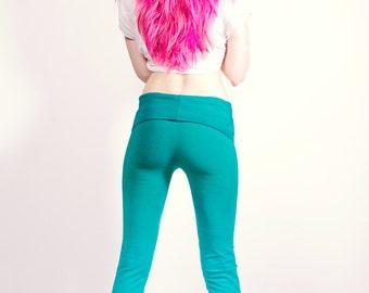 Hand Dyed Aqua and Teal Yoga Leggings Pants