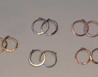 Tiny Gold Hoop Earrings, Solid 14kt Gold Small Hoops 10mm, Huggie Earrings in White Gold, Rose Gold or Yellow Gold, 14k Hammered Earing