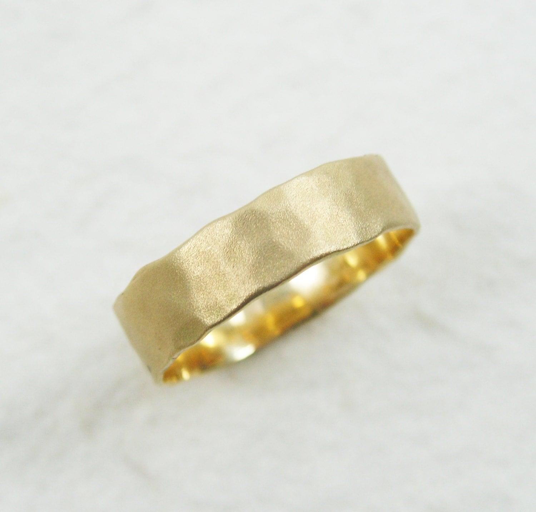 18K Gold Hammered 5mm Wedding Band Hammered Wedding Band