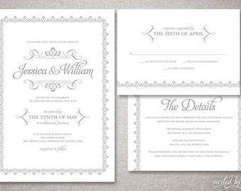 "Romantic Elegant ""Jessica"" Wedding Invitations Suite - Beautiful Classic Traditional Invitation - DIY Digital Printable or Printed Invite"