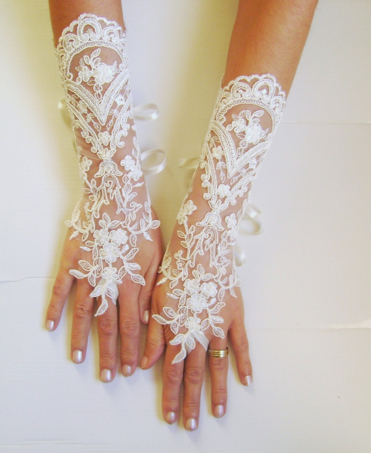 Long Ivory Wedding Gloves Bridal Gloves Lace Gloves Fingerless