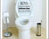 Toilet Decal - BOYS Our Aim is to Keep the Bathroom Clean - Bathroom Wall Decals - Toilet Sticker - Funny Bathroom Decor