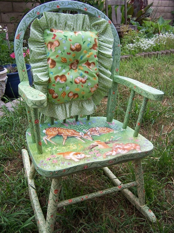 Child s rocking chair hand painted hand made pillow children s