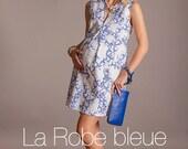 Porcelain print maternity dress, Baby Shower dress for women, Maternity cocktail dress, White summer maternity dress