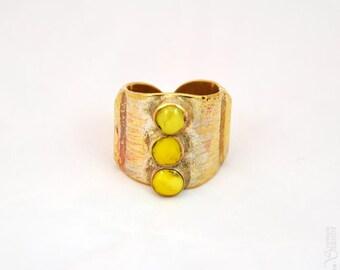 Trilogie - Bague ronde jaune dorée réglable