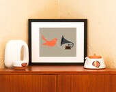 Audiophile Bird with Gramophone & Ear Buds - Art Print (Free Shipping in US)