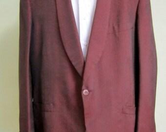 70s Tuxedo Jacket,  1970's Lord West Formal tux jacket, Vintage Dinner Jacket,  Striped Burgundy Black tux jacket, Formal dinner blazer