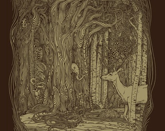 Tangled Forest 11x14 Fine Art Print, Enchanted Forest, Forest Art, Tree Print