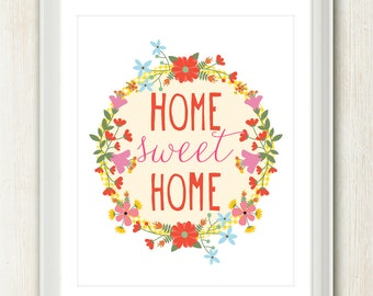 Home Sweet Home  8x10 inch print f eaturing pretty flowers and hand