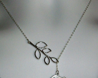 Sterling Silver Lariat Necklace, Detailed Bird and Branch Lariat Necklace, Mod Bird and Branch Lariat, Sterling Silver Necklace, Bridal