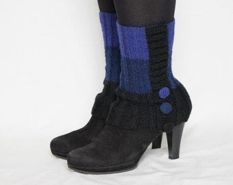 hand-knitted wool leg warmer/ made from natural wool/ royal-blue and black color with decorative buttons