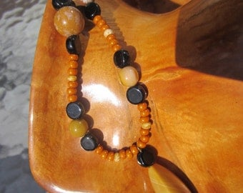 MOOKITE PICTUREJASPER and AGATE Necklace Bracelet Earrings Gold Beige Black SemiPrecious Polished Stone Beads Earthtones Organic Rustic Gift