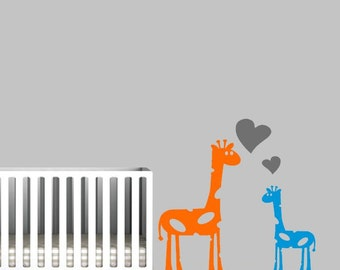Nursery Wall Decal with Giraffe and Baby Giraffe