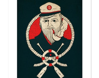 Ship's Captain, Neo-Traditional Tattoo Flash, Nautical, Old School, Art Print 12x16