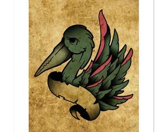 Pelican, Neo-Traditional Tattoo Flash, Old School, Art Print 12x16