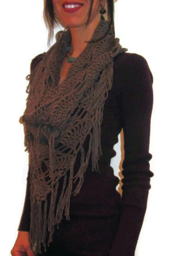 CROCHET COWL Taupe Crochet Triangle Cowl Fringed by ...
