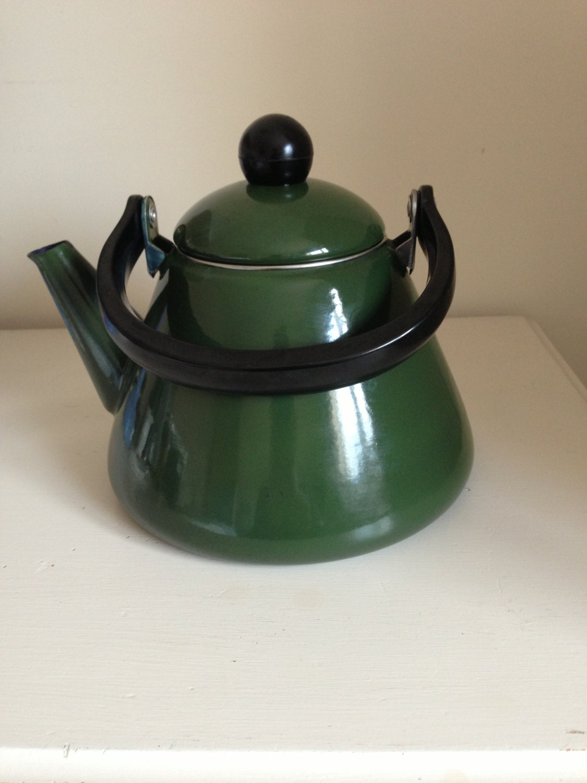 Vintage Green Enamel Tea Kettle Stove Top Country Kitchen