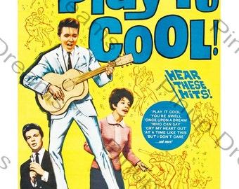 Vintage Wall Art Print Rock n Roll Poster Billy Fury in Play it Cool re-print