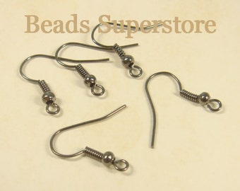18 mm Gunmetal French Ear Wire with Bead and Coil - Nickel Free and Lead Free - 40 pcs