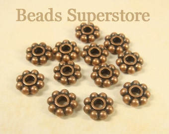 SALE 8 mm x 3 mm Antique Copper Daisy Spacer - Nickel Free, Lead Free and Cadmium Free - 25 pcs