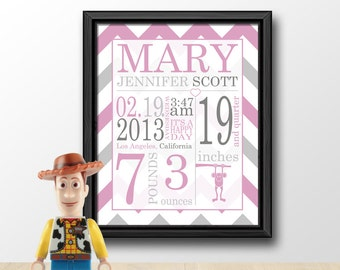 custom baby announcement gift, baby birth announcement, baby room wall art, birth stats print, personalized baby girl gift, chevron nursery