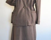 """WW2 - Classic Swing Era Cocoa and Cream Plaid Suit - Bust 42"""""""