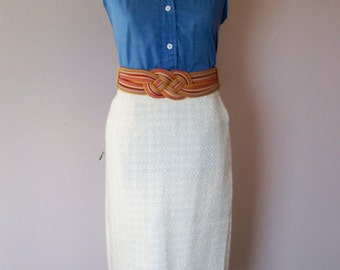 90s Tweed White Pencil Skirt