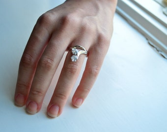 Silver Two Stone Ring - Sterling Silver Ring - Cubic Zirconia Ring - CZ Promise Ring - 2 Stone Ring - Valentine's Day