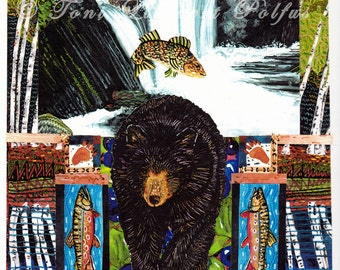 Art Print of Original Watercolor Collage, Black Bear Painting, Trout Art, Waterfall Painting, Nature Artwork, Lodge Decor