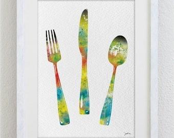 handmade q fork and spoon wall art