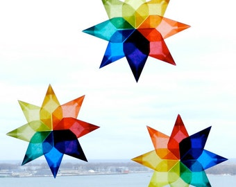 8 Pointed Stars, DIY 4 Star Kit , Card with Kite Paper to make 4 - folded Rainbow Stars. Makes great Stocking Stuffer Christmas Gift