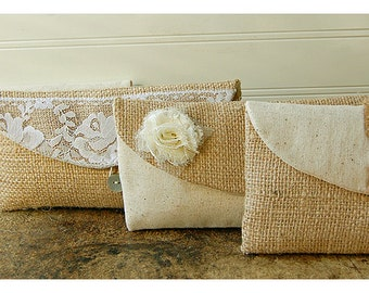burlap lace clutch purse Set of 12  Bridesmaid Gift  Bridesmaid clutch wedding clutch rustic wedding Clutch cosmetic bag for her shabby chic