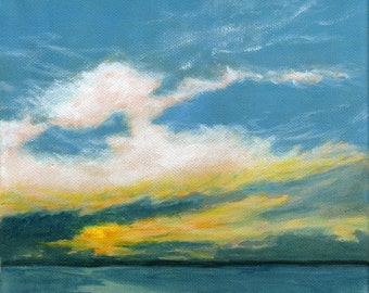Morning Whispers - Orignal Landscape Painting on Canvas Sky and Dramatic Clouds Sunrise Ocean Sea 8x8