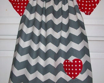 Girls Dress Chevron Dress Grey with Red Heart Sweetheart Peasant Dress with Flutter Sleeves Valentines Day Dress baby dress toddler dress